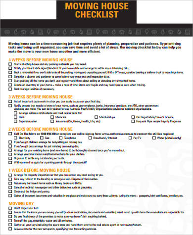 photograph about Printable Moving Checklist referred to as Printable Shifting List Pattern - 10+ Illustrations inside Term, PDF