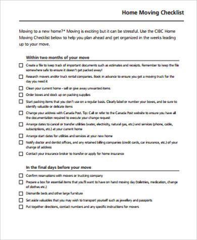 printable home moving checklist