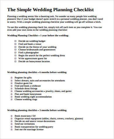 Sample Wedding Planning Checklist