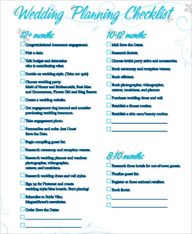 Wedding Planning Checklist Sample In Pdf - 8+ Examples In Pdf