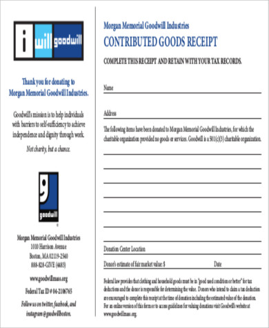 13 Goodwill Donation Receipt Sample Templates