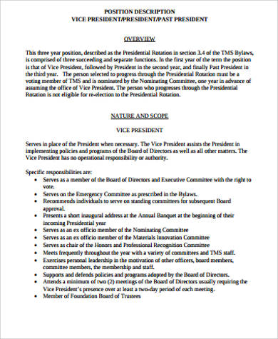President Job Description Sample   Examples In Word Pdf