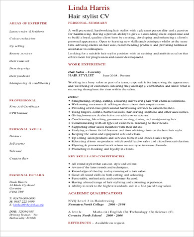 Hairstylist Job Description Sample   Examples In Word Pdf