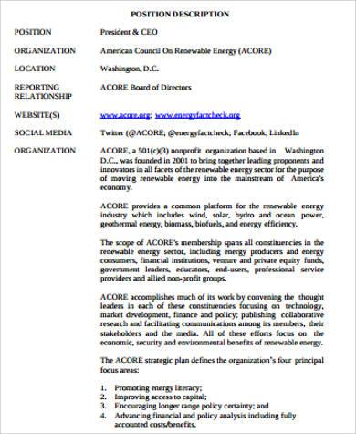 president and ceo job description pdf