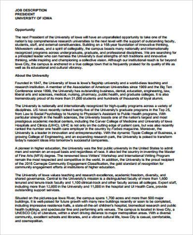 university president job description