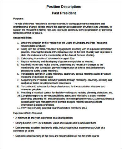 past president job description