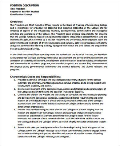 president position job description example