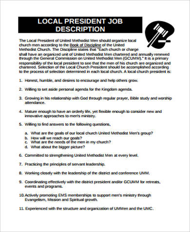 local president job description