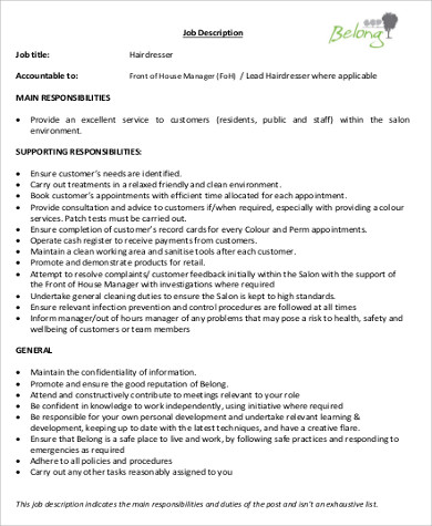 hairdresser job description sample - Hairdresser Job Description