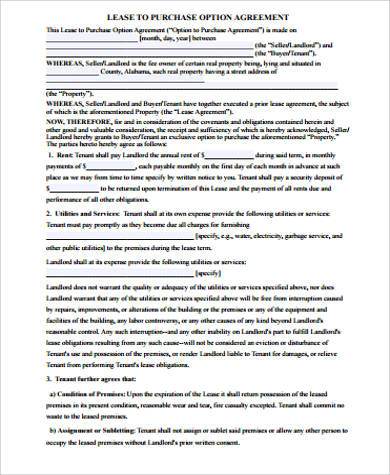 lease option purchase agreement