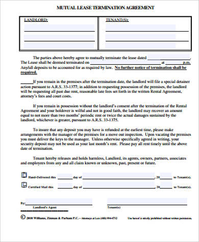 mutual lease termination agreement