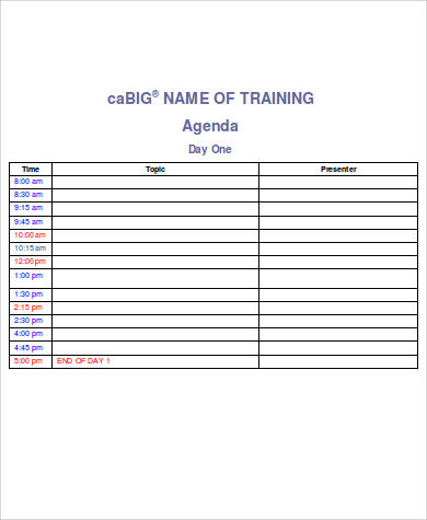 Free Agenda Sample   Examples In Word Pdf