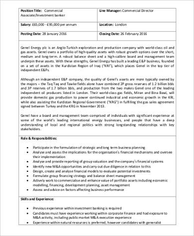 Investment Banker Job Description Sample   Examples In Word Pdf