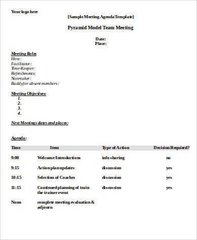 meeting agenda format samples