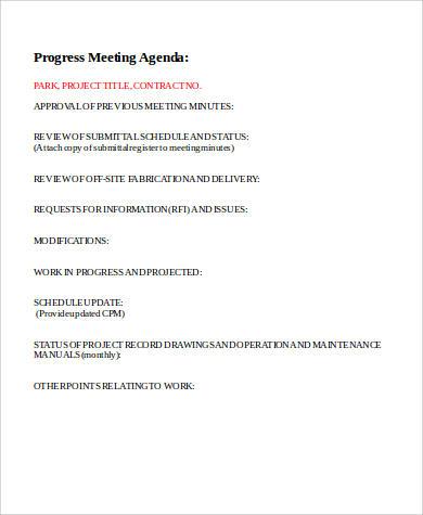 progress meeting agenda format