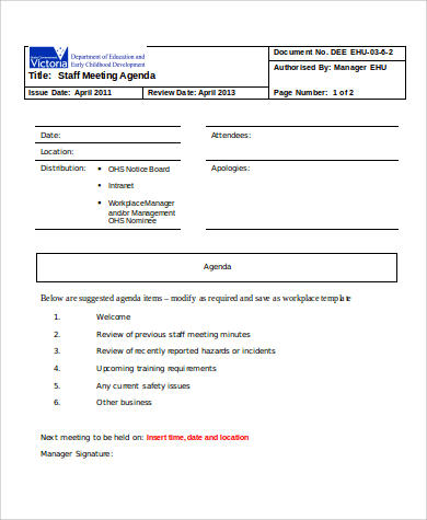 staff meeting agenda format sample