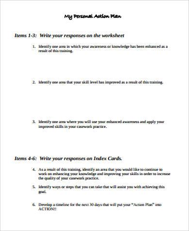 personal action plan worksheet sample