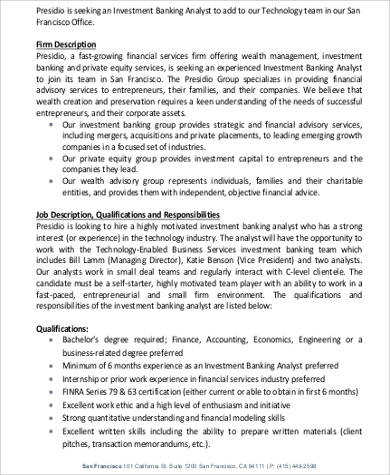 Investment Banker Job Description Sample - 7+ Examples In Word, Pdf