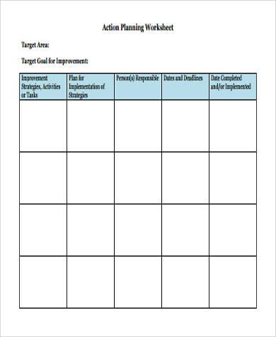 action planning worksheet pdf