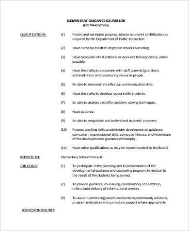 School Counselor Job Description Sample   Examples In Word Pdf