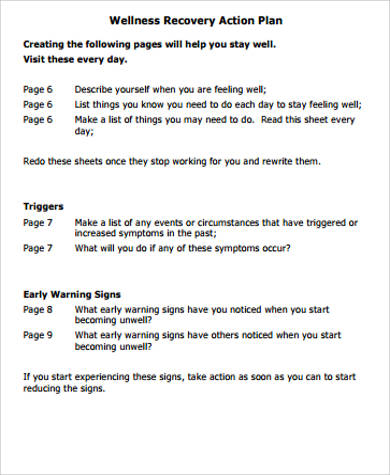 30 sample action plan work sheets sample templates for Recovery action plan template