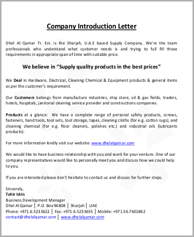 Company Introduction Letter Template  New Product Introduction Letter Template