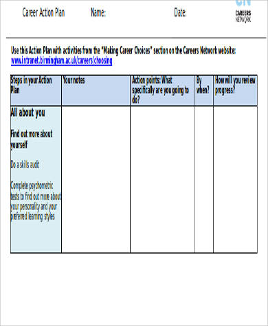 career action plan worksheet doc