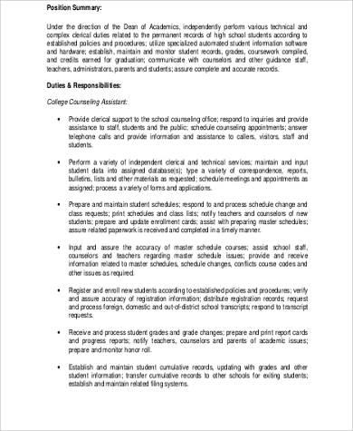 school counselor assistant job description