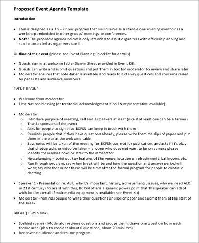 proposed event agenda format