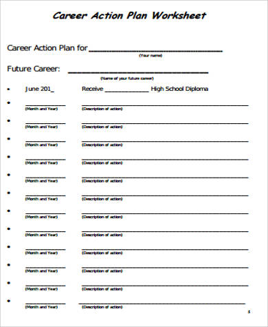 Sample Action Plan Work Sheet   Examples In Word Pdf
