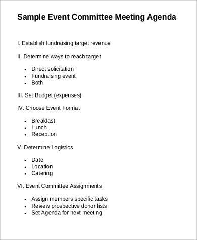 format of meeting agenda
