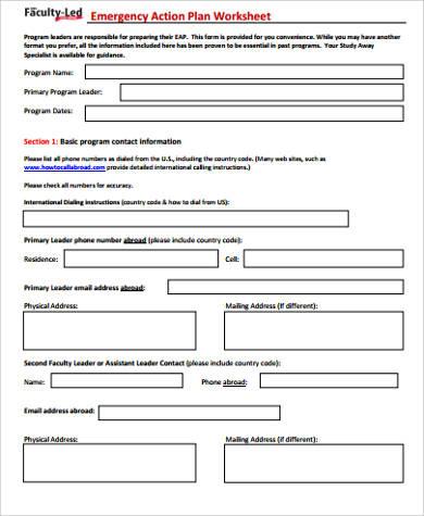 emergency action plan worksheet pdf
