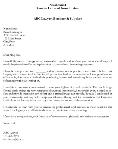introductory lawyer letter free