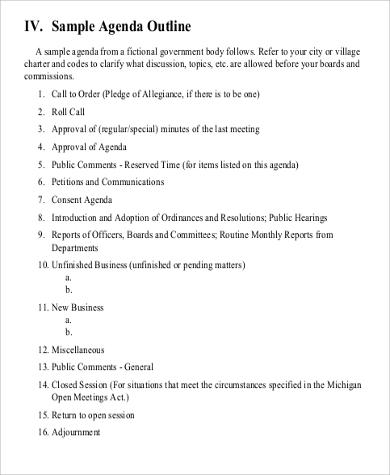 Agenda Outline Seminar Agenda Template 10Formally Used Agenda