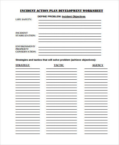 incident action plan development worksheet