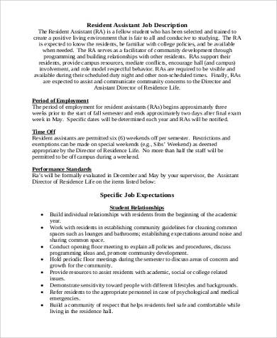 Resident Assistant Job Description Sample   Examples In Word Pdf