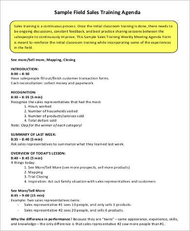 field sales agenda format
