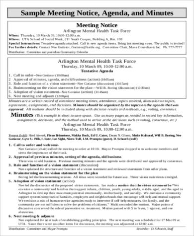 Agenda Format Sample   Examples In Word Pdf