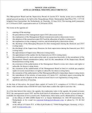 general notice and agenda format