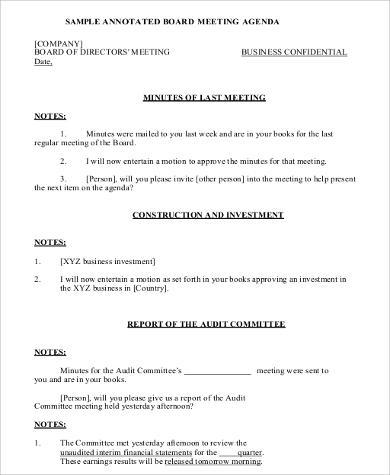 board of directors agenda format