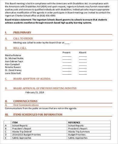 school board agenda format
