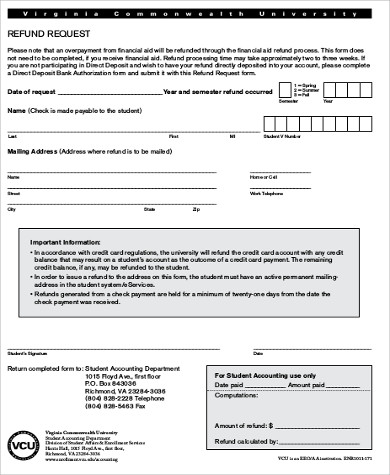 refund request form sample