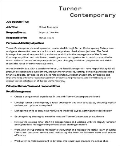 8 Retail Manager Job Description Sample Examples In