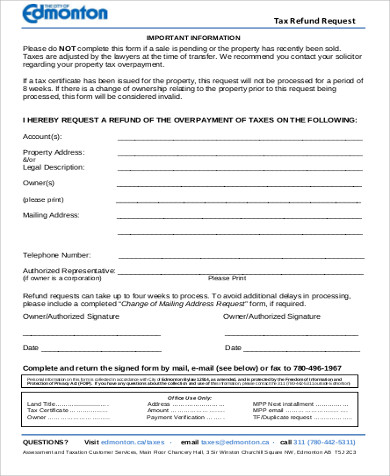 tax refund request form example