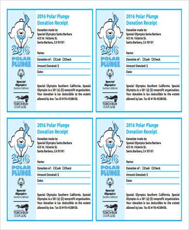sample non profit donation receipt