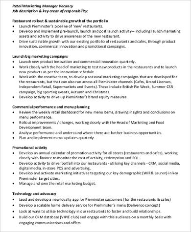 Retail Manager Job Description Sample  Examples In Word Pdf
