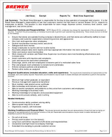 retail manager job description sample