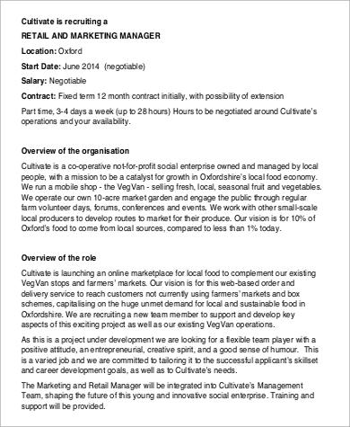 retail and marketing manager job description