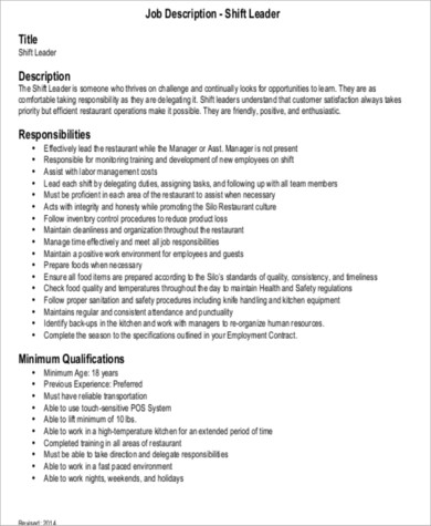 Shift Leader Job Description Sample   Examples In Word Pdf