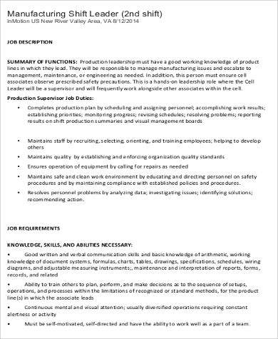manufacturing shift leader job description. Resume Example. Resume CV Cover Letter